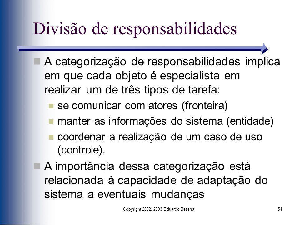 Copyright 2002, 2003 Eduardo Bezerra54 Divisão de responsabilidades A categorização de responsabilidades implica em que cada objeto é especialista em