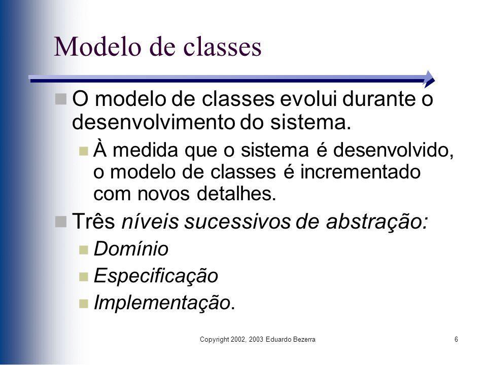Copyright 2002, 2003 Eduardo Bezerra6 Modelo de classes O modelo de classes evolui durante o desenvolvimento do sistema. À medida que o sistema é dese