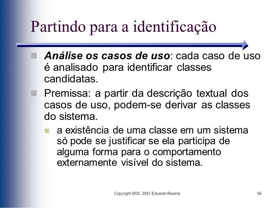 Copyright 2002, 2003 Eduardo Bezerra60 Partindo para a identificação Análise os casos de uso: cada caso de uso é analisado para identificar classes ca