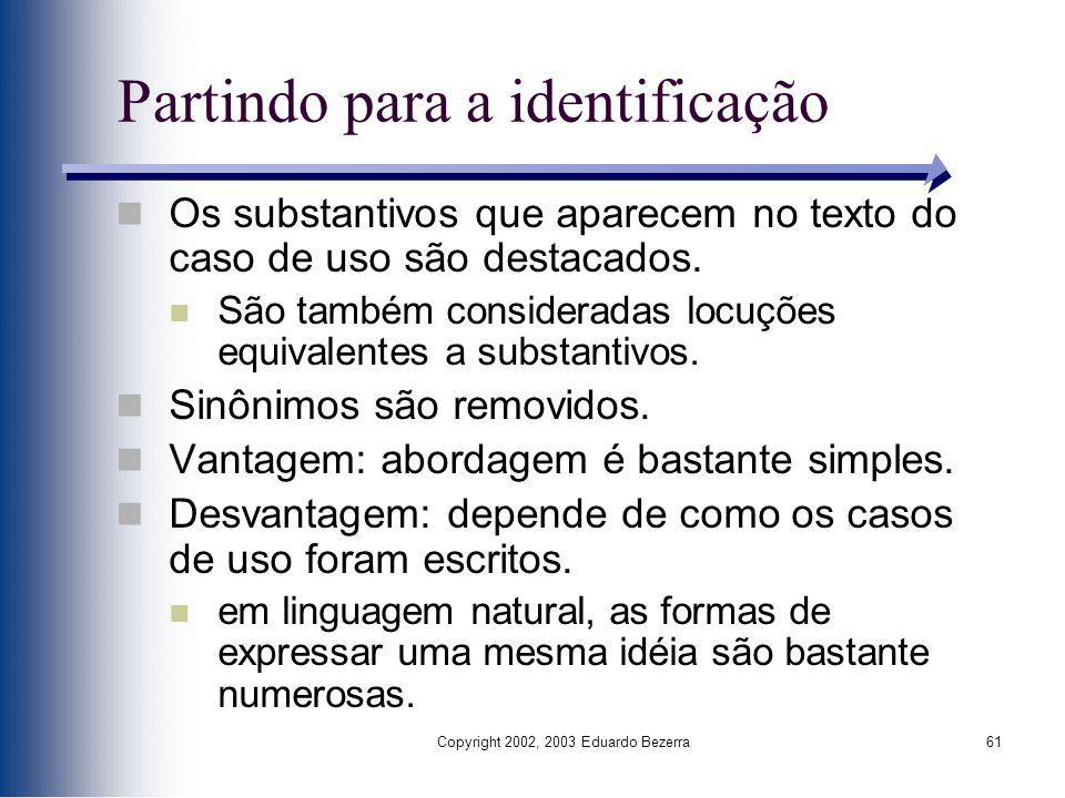 Copyright 2002, 2003 Eduardo Bezerra61 Partindo para a identificação Os substantivos que aparecem no texto do caso de uso são destacados. São também c