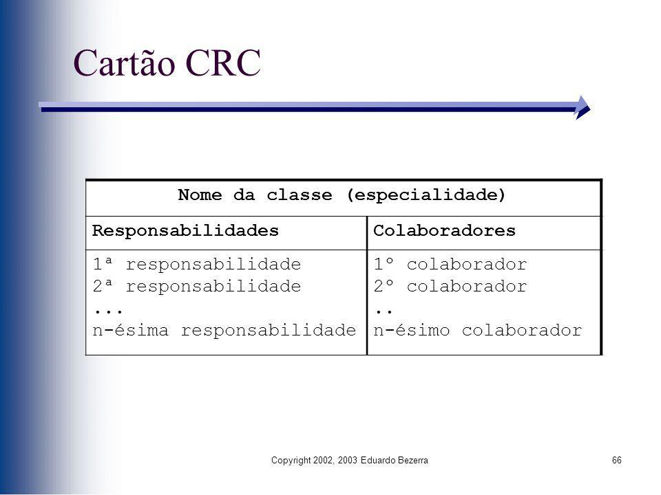 Copyright 2002, 2003 Eduardo Bezerra66 Cartão CRC Nome da classe (especialidade) ResponsabilidadesColaboradores 1ª responsabilidade 2ª responsabilidad