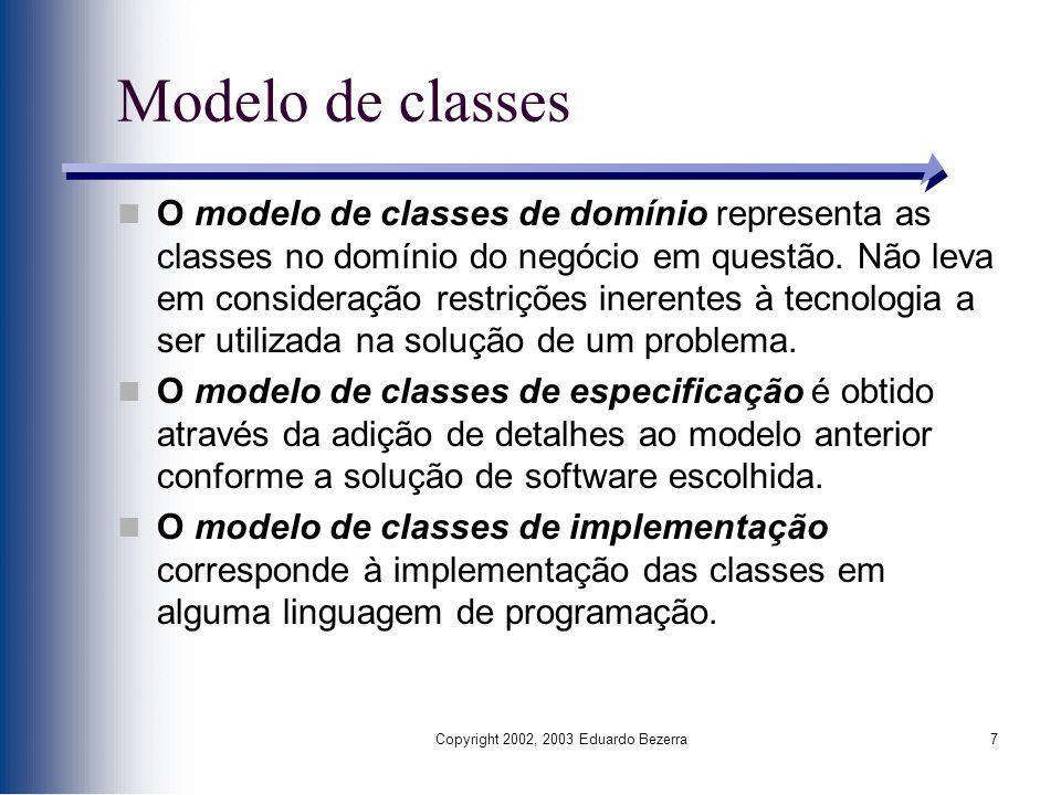 Copyright 2002, 2003 Eduardo Bezerra7 Modelo de classes O modelo de classes de domínio representa as classes no domínio do negócio em questão. Não lev