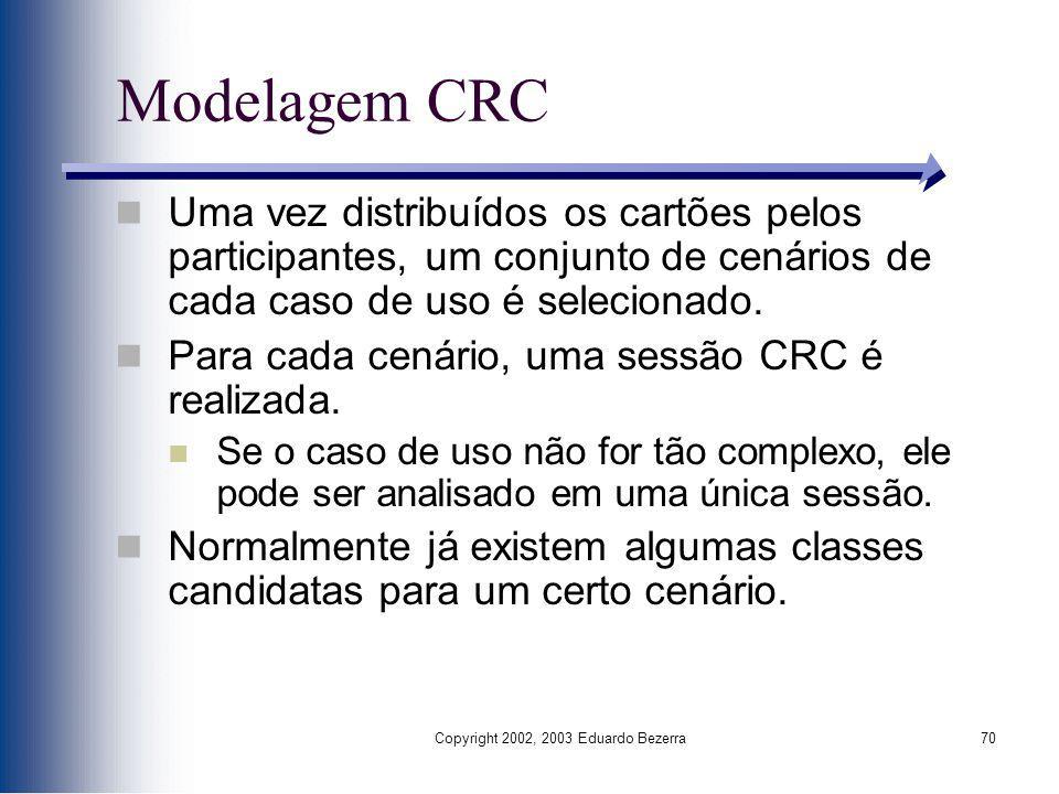 Copyright 2002, 2003 Eduardo Bezerra70 Modelagem CRC Uma vez distribuídos os cartões pelos participantes, um conjunto de cenários de cada caso de uso