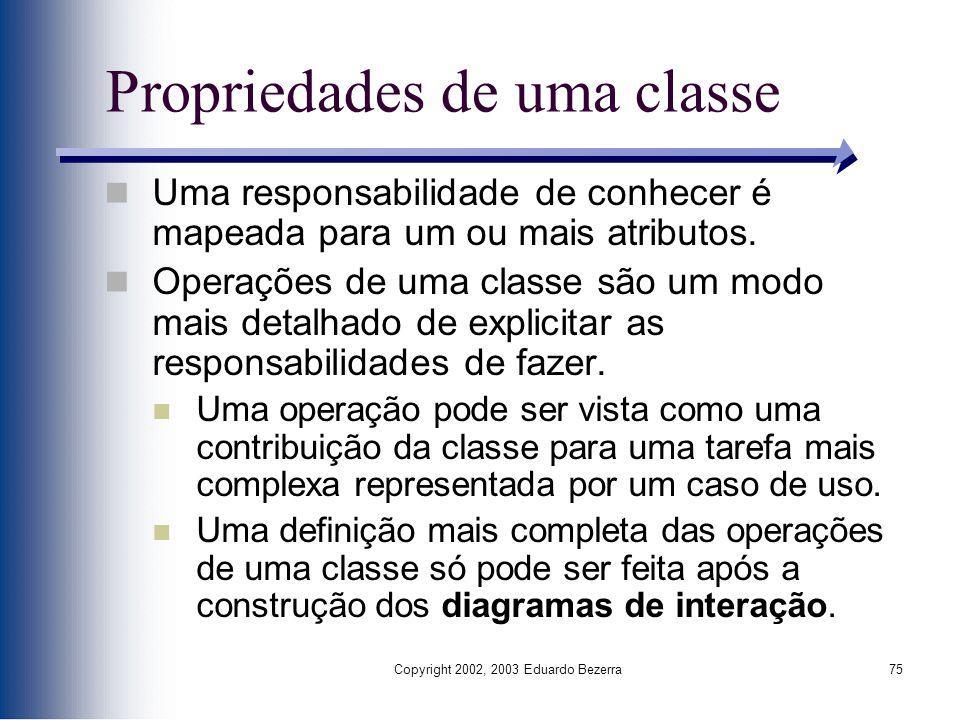 Copyright 2002, 2003 Eduardo Bezerra75 Propriedades de uma classe Uma responsabilidade de conhecer é mapeada para um ou mais atributos. Operações de u