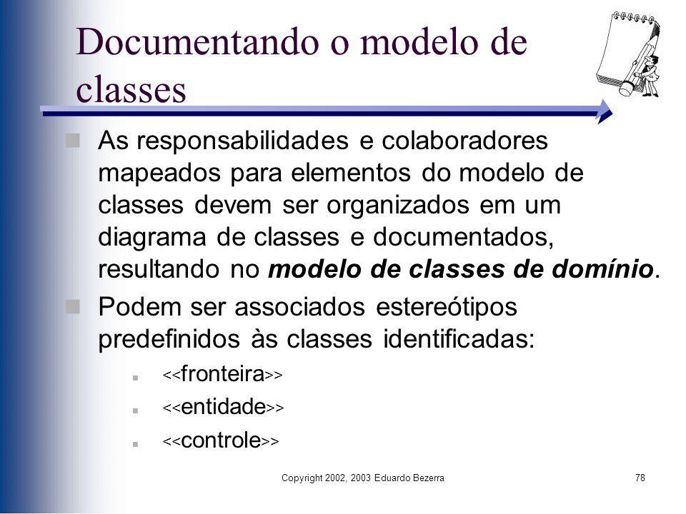 Copyright 2002, 2003 Eduardo Bezerra78 Documentando o modelo de classes As responsabilidades e colaboradores mapeados para elementos do modelo de clas