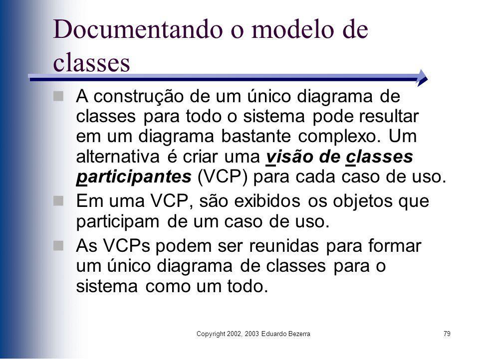 Copyright 2002, 2003 Eduardo Bezerra79 Documentando o modelo de classes A construção de um único diagrama de classes para todo o sistema pode resultar