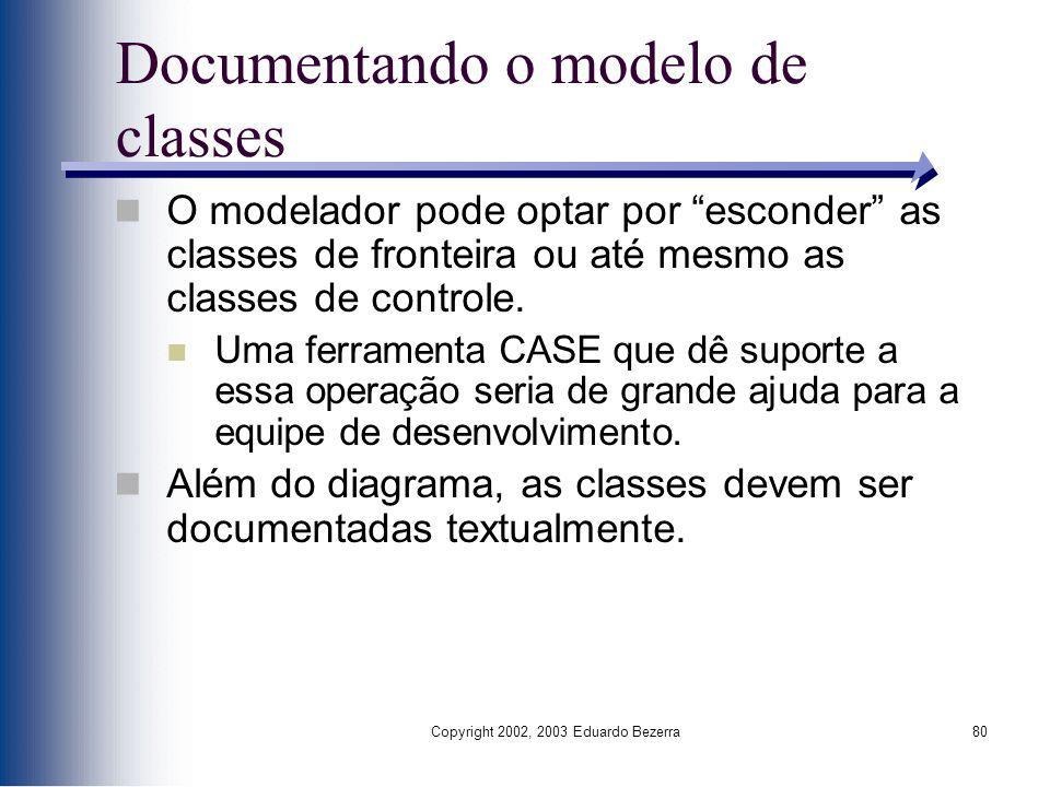 Copyright 2002, 2003 Eduardo Bezerra80 Documentando o modelo de classes O modelador pode optar por esconder as classes de fronteira ou até mesmo as cl