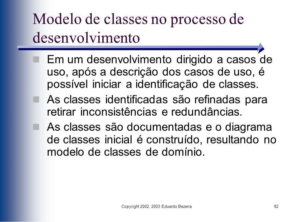 Copyright 2002, 2003 Eduardo Bezerra82 Modelo de classes no processo de desenvolvimento Em um desenvolvimento dirigido a casos de uso, após a descriçã