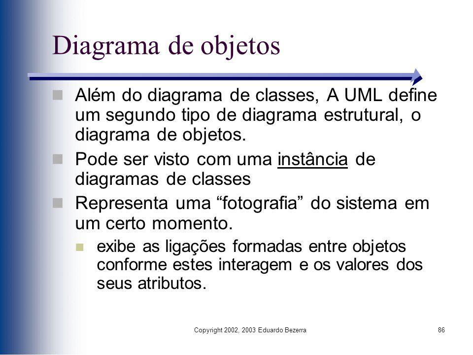 Copyright 2002, 2003 Eduardo Bezerra86 Diagrama de objetos Além do diagrama de classes, A UML define um segundo tipo de diagrama estrutural, o diagram
