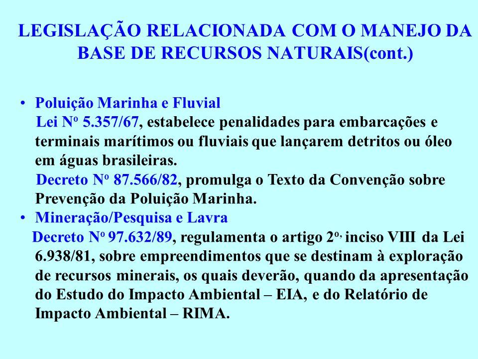LEGISLAÇÃO RELACIONADA COM O MANEJO DA BASE DE RECURSOS NATURAIS(cont.) Poluição Marinha e Fluvial Lei N o 5.357/67, estabelece penalidades para embar