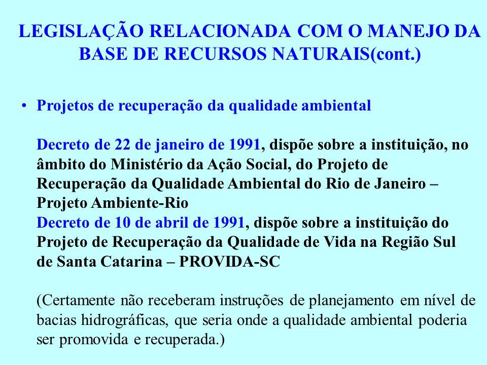 LEGISLAÇÃO RELACIONADA COM O MANEJO DA BASE DE RECURSOS NATURAIS(cont.) Projetos de recuperação da qualidade ambiental Decreto de 22 de janeiro de 199