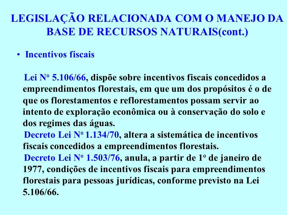 LEGISLAÇÃO RELACIONADA COM O MANEJO DA BASE DE RECURSOS NATURAIS(cont.) Incentivos fiscais Lei N o 5.106/66, dispõe sobre incentivos fiscais concedido