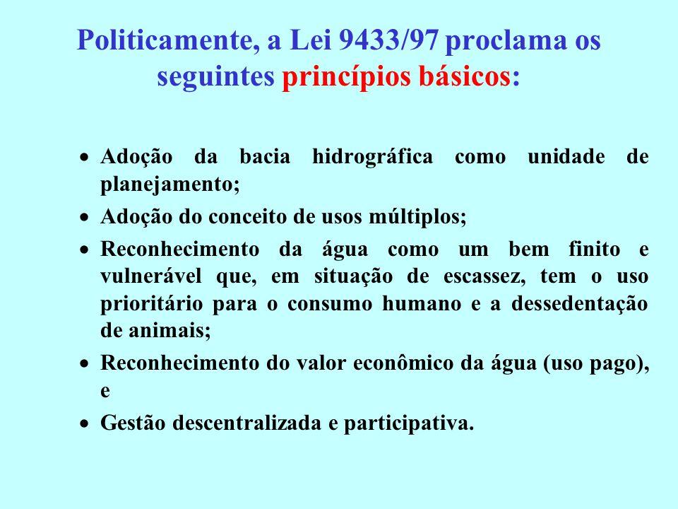 Politicamente, a Lei 9433/97 proclama os seguintes princípios básicos: Adoção da bacia hidrográfica como unidade de planejamento; Adoção do conceito d