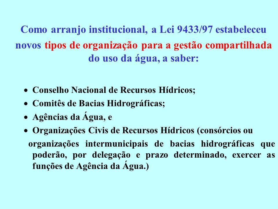 Como arranjo institucional, a Lei 9433/97 estabeleceu novos tipos de organização para a gestão compartilhada do uso da água, a saber: Conselho Naciona