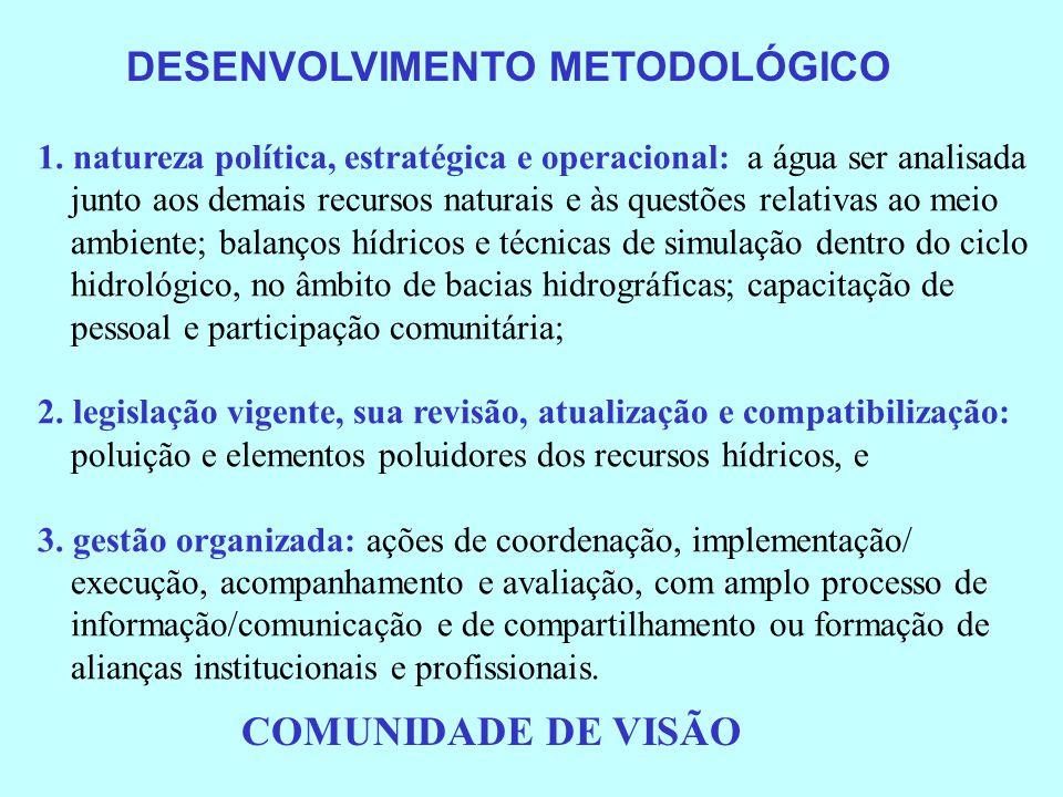 LEGISLAÇÃO RELACIONADA COM O MANEJO DA BASE DE RECURSOS NATURAIS(cont.) Projetos de recuperação da qualidade ambiental Decreto de 22 de janeiro de 1991, dispõe sobre a instituição, no âmbito do Ministério da Ação Social, do Projeto de Recuperação da Qualidade Ambiental do Rio de Janeiro – Projeto Ambiente-Rio Decreto de 10 de abril de 1991, dispõe sobre a instituição do Projeto de Recuperação da Qualidade de Vida na Região Sul de Santa Catarina – PROVIDA-SC (Certamente não receberam instruções de planejamento em nível de bacias hidrográficas, que seria onde a qualidade ambiental poderia ser promovida e recuperada.)