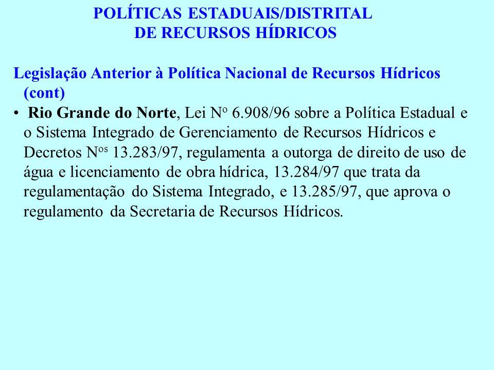 POLÍTICAS ESTADUAIS/DISTRITAL DE RECURSOS HÍDRICOS Legislação Anterior à Política Nacional de Recursos Hídricos (cont) Rio Grande do Norte, Lei N o 6.