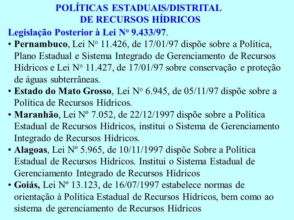 POLÍTICAS ESTADUAIS/DISTRITAL DE RECURSOS HÍDRICOS Legislação Posterior à Lei N o 9.433/97. Pernambuco, Lei N o 11.426, de 17/01/97 dispõe sobre a Pol
