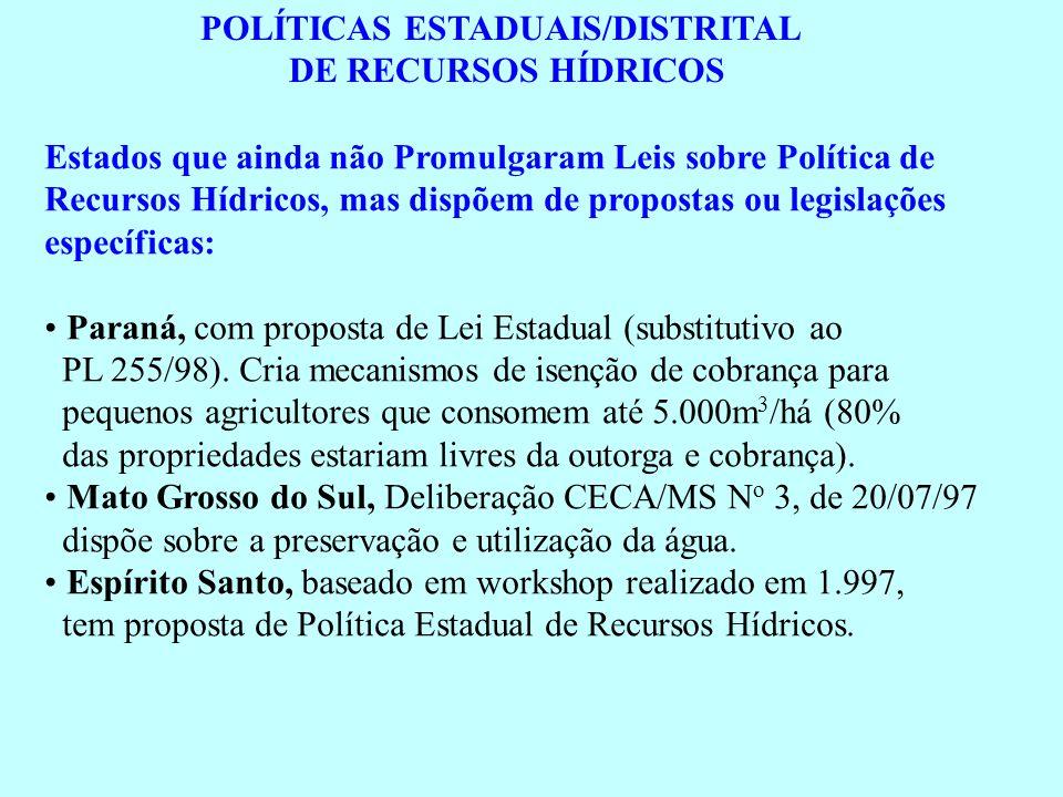 POLÍTICAS ESTADUAIS/DISTRITAL DE RECURSOS HÍDRICOS Estados que ainda não Promulgaram Leis sobre Política de Recursos Hídricos, mas dispõem de proposta