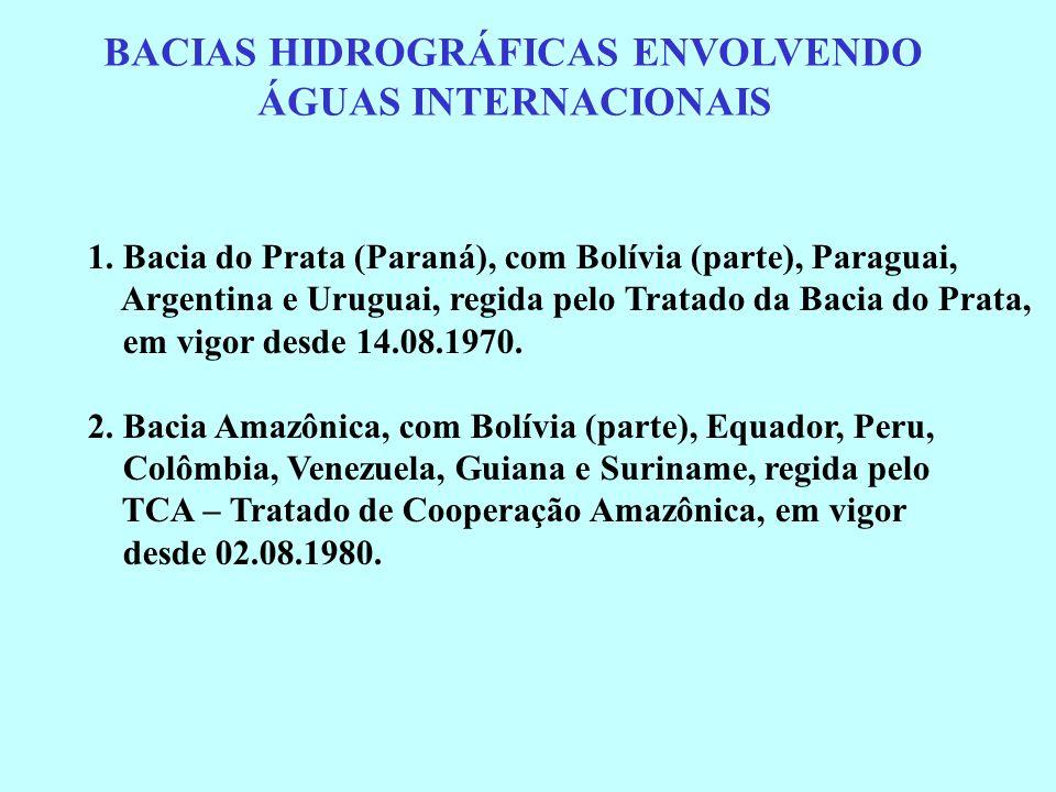 BACIAS HIDROGRÁFICAS ENVOLVENDO ÁGUAS INTERNACIONAIS 1. Bacia do Prata (Paraná), com Bolívia (parte), Paraguai, Argentina e Uruguai, regida pelo Trata