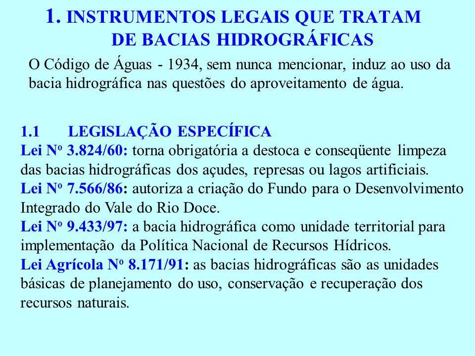 1. INSTRUMENTOS LEGAIS QUE TRATAM DE BACIAS HIDROGRÁFICAS O Código de Águas - 1934, sem nunca mencionar, induz ao uso da bacia hidrográfica nas questõ