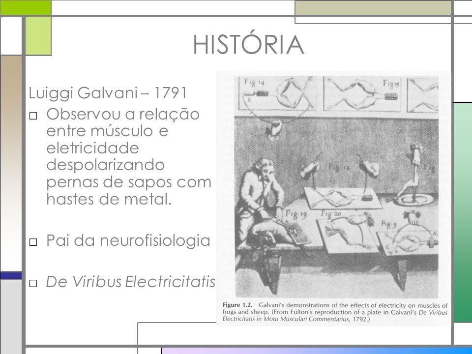 HISTÓRIA Luiggi Galvani – 1791 Observou a relação entre músculo e eletricidade despolarizando pernas de sapos com hastes de metal. Pai da neurofisiolo