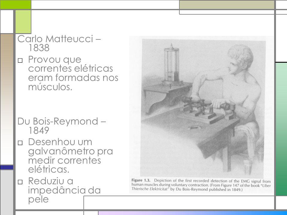 Carlo Matteucci – 1838 Provou que correntes elétricas eram formadas nos músculos. Du Bois-Reymond – 1849 Desenhou um galvanômetro pra medir correntes