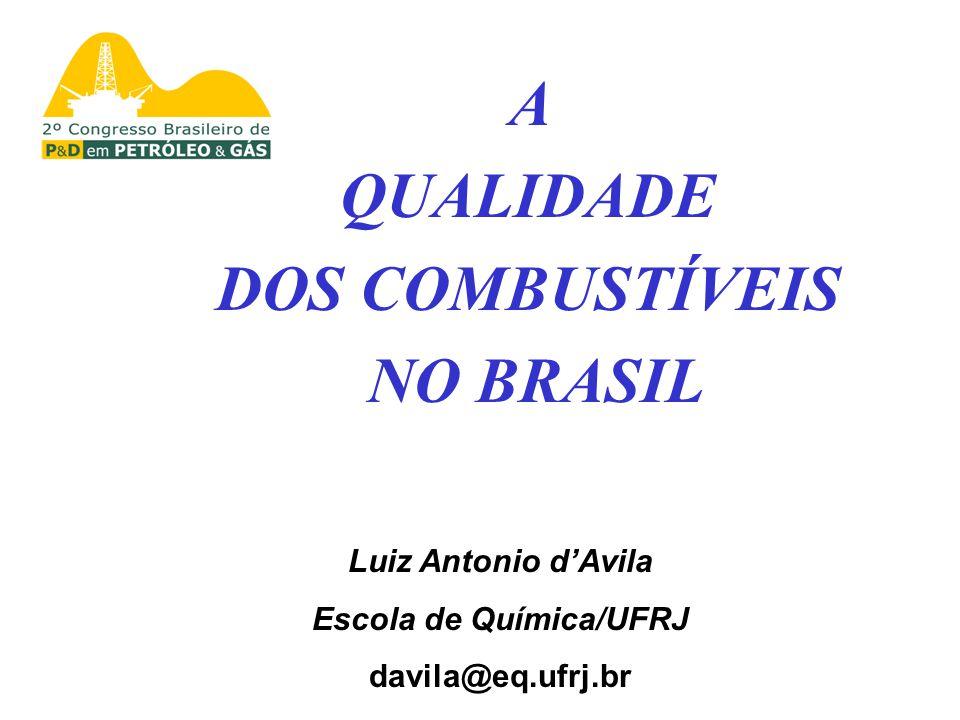A QUALIDADE DOS COMBUSTÍVEIS NO BRASIL Luiz Antonio dAvila Escola de Química/UFRJ davila@eq.ufrj.br