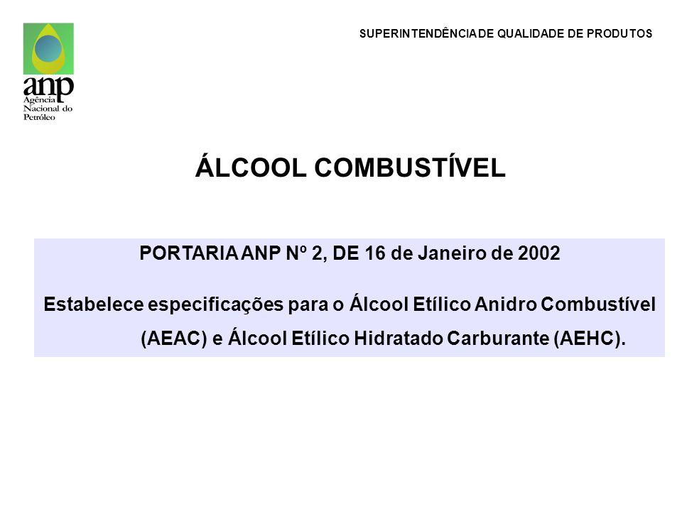 PORTARIA ANP Nº 2, DE 16 de Janeiro de 2002 Estabelece especificações para o Álcool Etílico Anidro Combustível (AEAC) e Álcool Etílico Hidratado Carbu