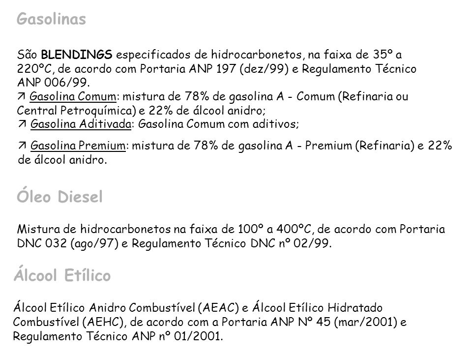 Gasolinas São BLENDINGS especificados de hidrocarbonetos, na faixa de 35º a 220ºC, de acordo com Portaria ANP 197 (dez/99) e Regulamento Técnico ANP 0
