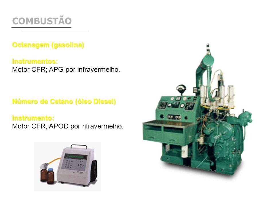 COMBUSTÃO Octanagem (gasolina) Instrumentos: Motor CFR; APG por infravermelho. Número de Cetano (óleo Diesel) Instrumento: Motor CFR; APOD por nfraver