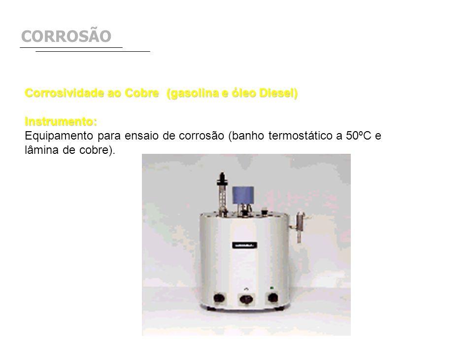CORROSÃO Corrosividade ao Cobre(gasolina e óleo Diesel) Instrumento: Equipamento para ensaio de corrosão (banho termostático a 50ºC e lâmina de cobre)
