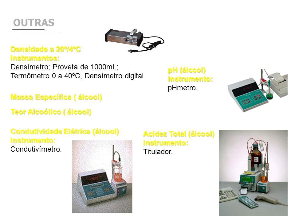 OUTRAS Densidade a 20º/4ºC Instrumentos: Densímetro; Proveta de 1000mL; Termômetro 0 a 40ºC, Densímetro digital pH (álccol) Instrumento: pHmetro. Cond