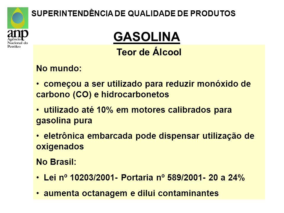 GASOLINA Teor de Álcool No mundo: começou a ser utilizado para reduzir monóxido de carbono (CO) e hidrocarbonetos utilizado até 10% em motores calibra