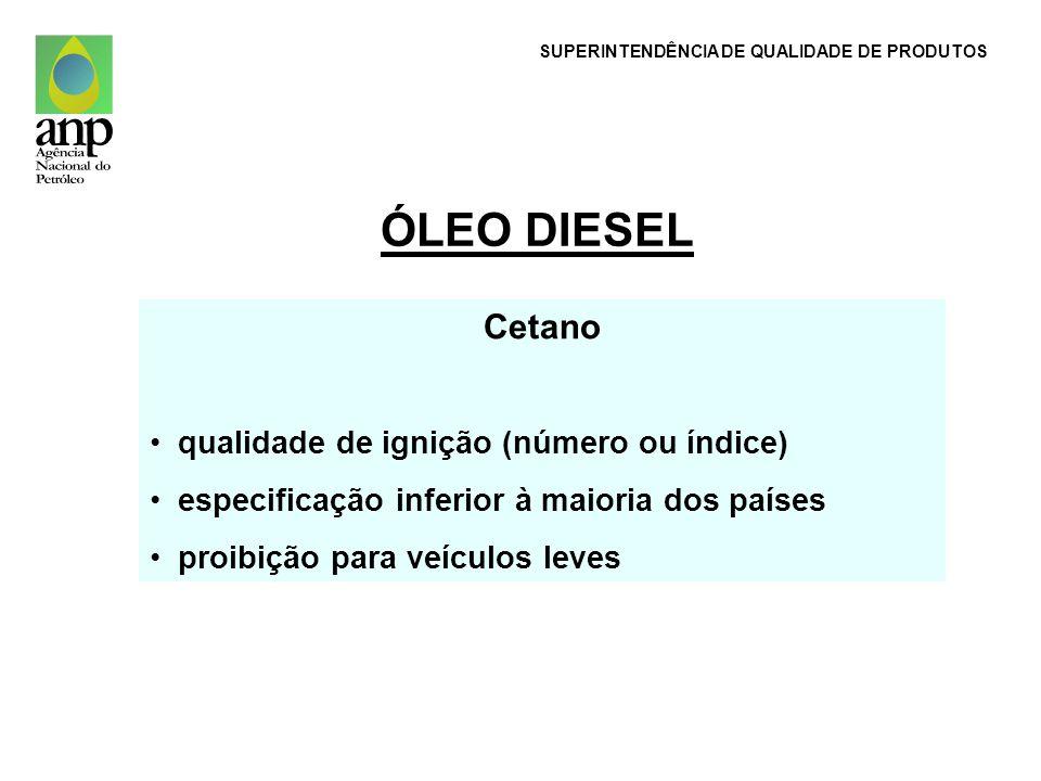 ÓLEO DIESEL Cetano qualidade de ignição (número ou índice) especificação inferior à maioria dos países proibição para veículos leves SUPERINTENDÊNCIA