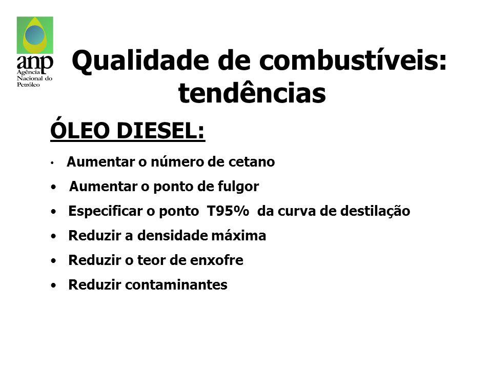 ÓLEO DIESEL: Aumentar o número de cetano Aumentar o ponto de fulgor Especificar o ponto T95% da curva de destilação Reduzir a densidade máxima Reduzir