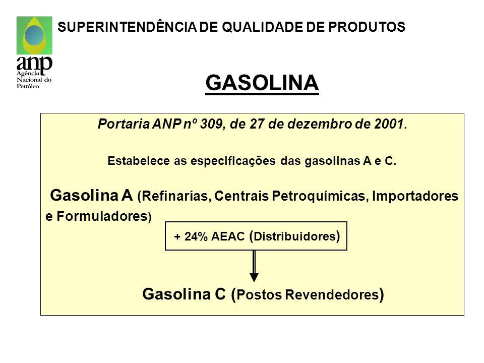 Portaria ANP nº 309, de 27 de dezembro de 2001. Estabelece as especificações das gasolinas A e C. Gasolina A (Refinarias, Centrais Petroquímicas, Impo