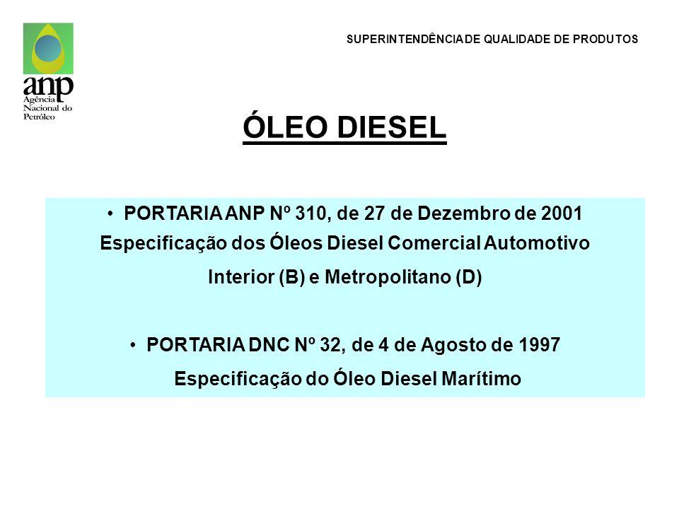 PORTARIA ANP Nº 310, de 27 de Dezembro de 2001 Especificação dos Óleos Diesel Comercial Automotivo Interior (B) e Metropolitano (D) PORTARIA DNC Nº 32