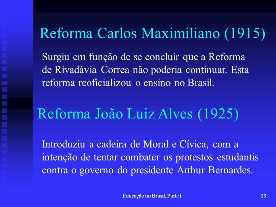Educação no Brasil, Parte I29 Reforma Carlos Maximiliano (1915) Introduziu a cadeira de Moral e Cívica, com a intenção de tentar combater os protestos