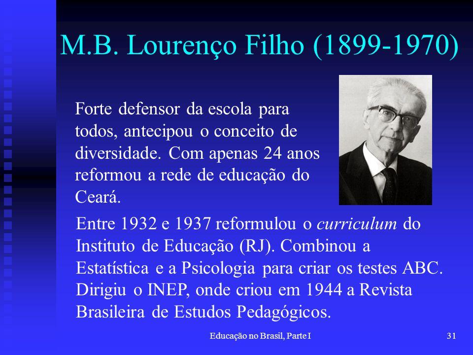 Educação no Brasil, Parte I31 M.B. Lourenço Filho (1899-1970) Forte defensor da escola para todos, antecipou o conceito de diversidade. Com apenas 24
