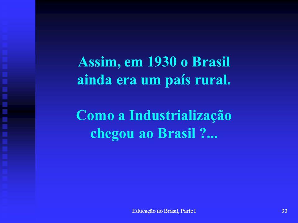 Educação no Brasil, Parte I33 Assim, em 1930 o Brasil ainda era um país rural. Como a Industrialização chegou ao Brasil ?...