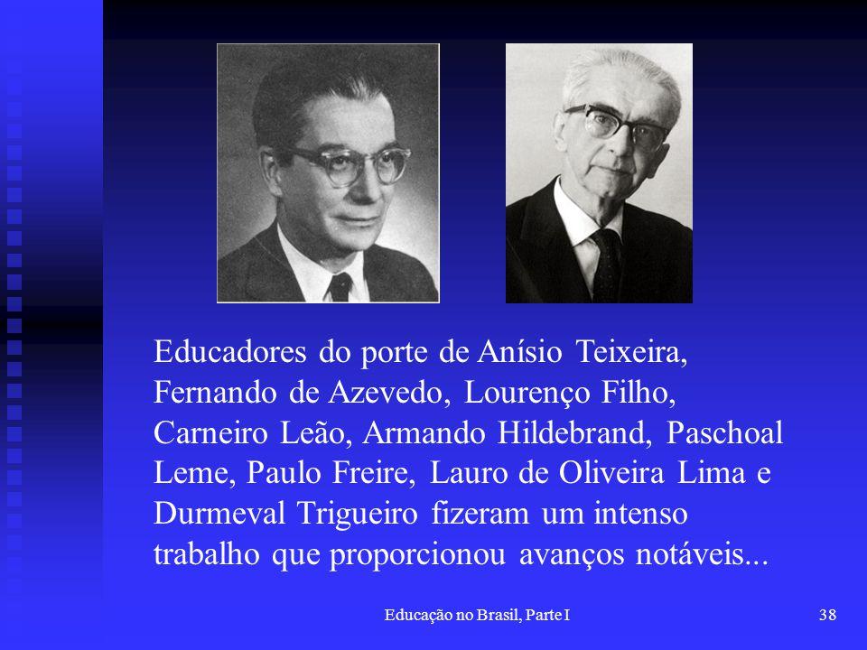 Educação no Brasil, Parte I38 Educadores do porte de Anísio Teixeira, Fernando de Azevedo, Lourenço Filho, Carneiro Leão, Armando Hildebrand, Paschoal