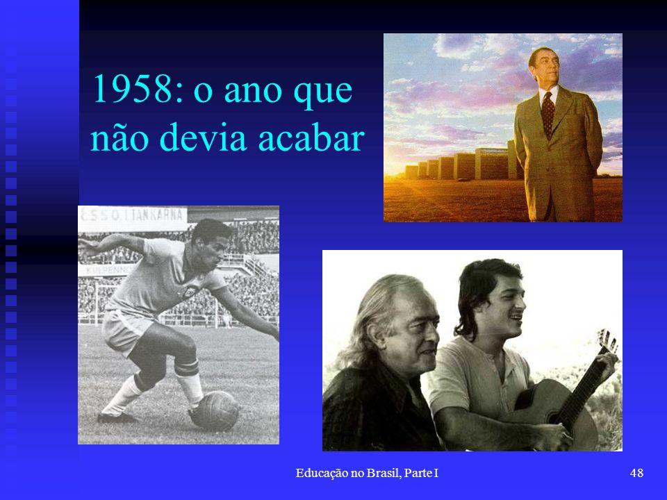 Educação no Brasil, Parte I48 1958: o ano que não devia acabar