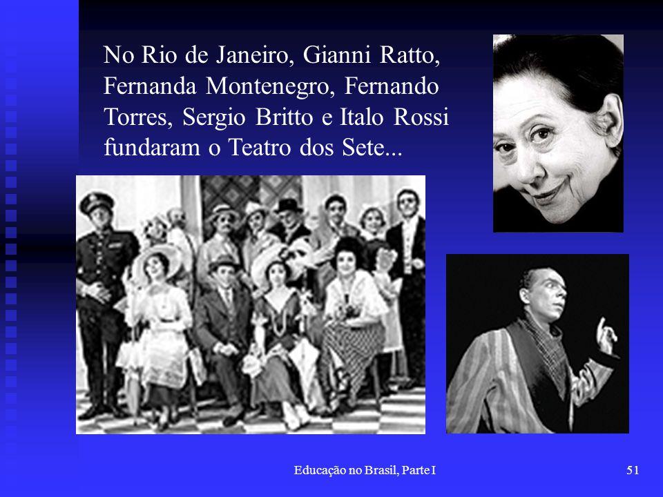 Educação no Brasil, Parte I51 No Rio de Janeiro, Gianni Ratto, Fernanda Montenegro, Fernando Torres, Sergio Britto e Italo Rossi fundaram o Teatro dos