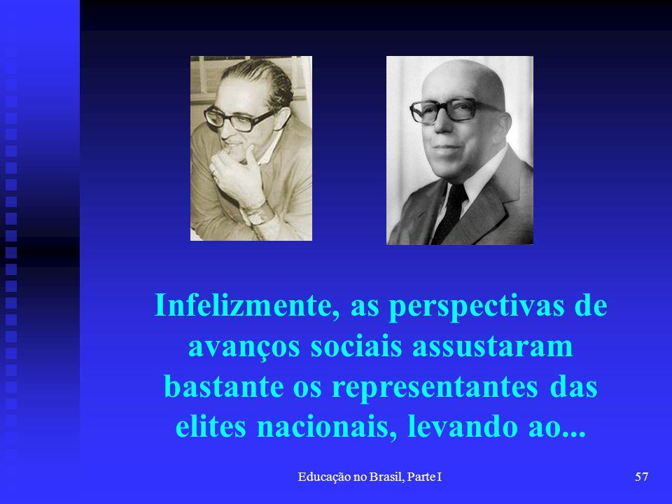 Educação no Brasil, Parte I57 Infelizmente, as perspectivas de avanços sociais assustaram bastante os representantes das elites nacionais, levando ao.
