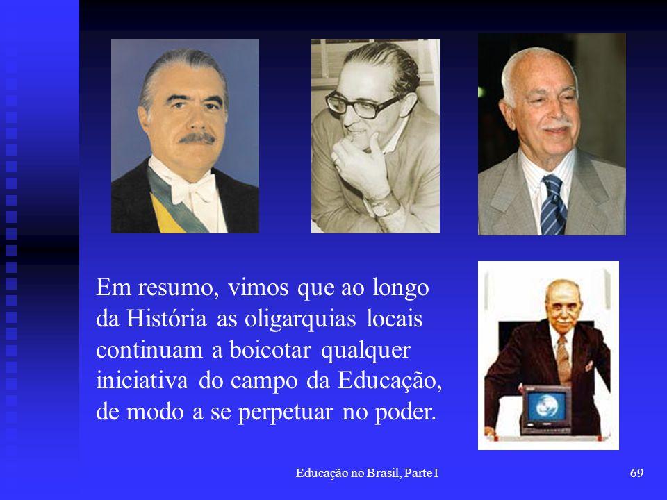 Educação no Brasil, Parte I69 Em resumo, vimos que ao longo da História as oligarquias locais continuam a boicotar qualquer iniciativa do campo da Edu