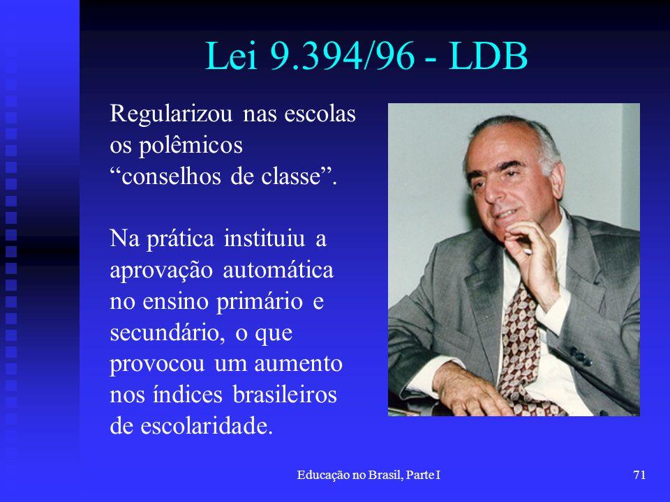 Educação no Brasil, Parte I71 Lei 9.394/96 - LDB Regularizou nas escolas os polêmicos conselhos de classe. Na prática instituiu a aprovação automática