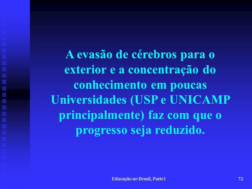Educação no Brasil, Parte I72 A evasão de cérebros para o exterior e a concentração do conhecimento em poucas Universidades (USP e UNICAMP principalme
