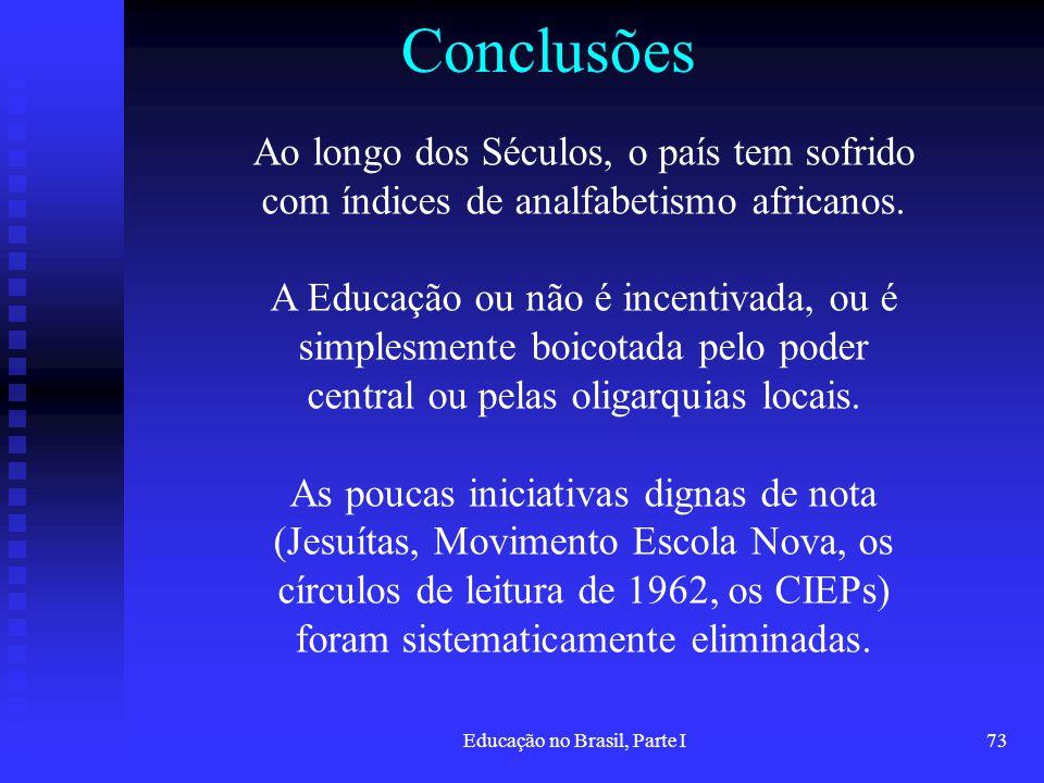 Educação no Brasil, Parte I73 Conclusões Ao longo dos Séculos, o país tem sofrido com índices de analfabetismo africanos. A Educação ou não é incentiv