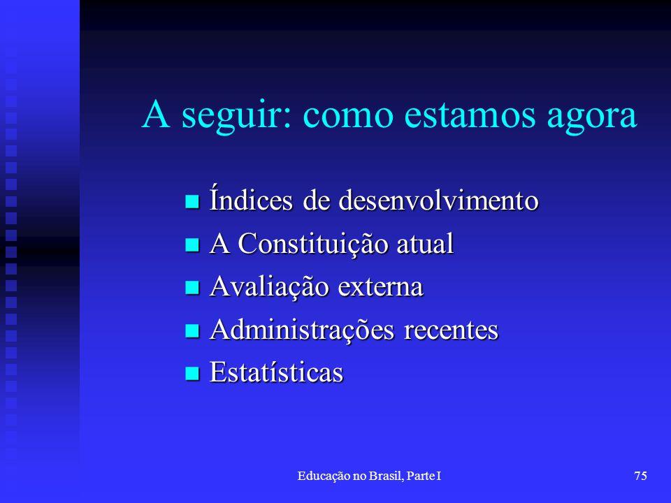 Educação no Brasil, Parte I75 A seguir: como estamos agora Índices de desenvolvimento Índices de desenvolvimento A Constituição atual A Constituição a