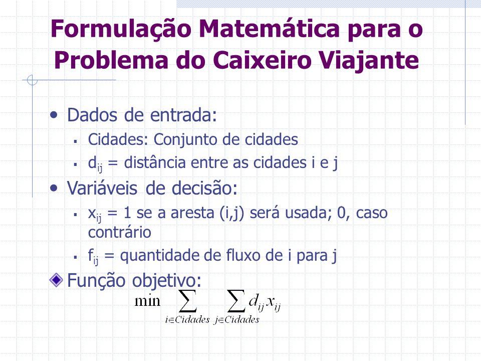 Formulação Matemática para o Problema do Caixeiro Viajante 1.